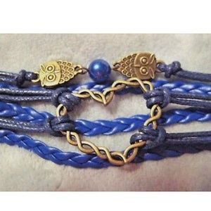 Jewelry - Pearl Infinity Heart Owls Blue Leather Bracelet